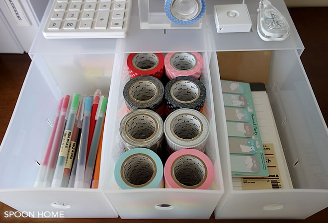 無印良品で文房具のおしゃれな収納アイデアのブログ画像