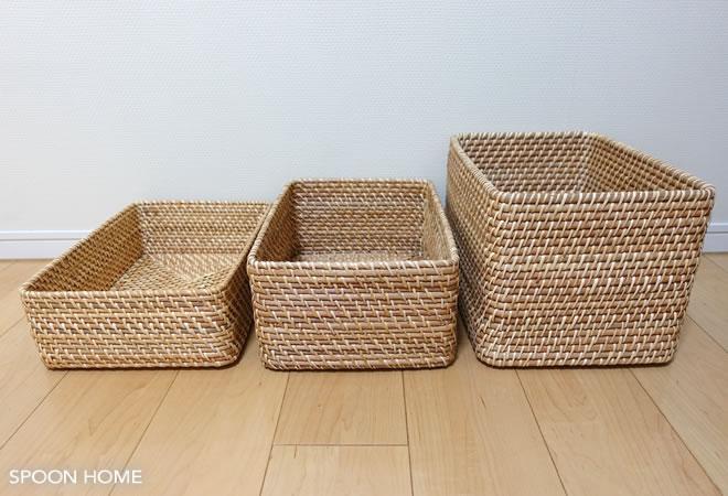 無印良品の重なるラタン長方形バスケットの収納ブログ画像